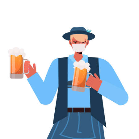 man in medical mask holding beer mugs Oktoberfest party celebration coronavirus quarantine concept Illustration