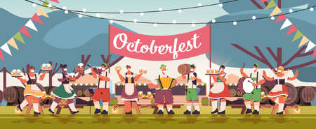 mix race people in face masks drinking beer and having fun Oktoberfest festival celebration concept Illustration