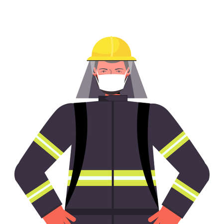 firefighter in uniform wearing mask to prevent coronavirus pandemic labor day celebration concept