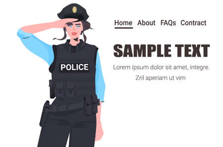 policewoman in tactical gear riot police officer standing pose protesters and demonstration control concept