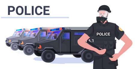 policeman in full tactical gear riot police officer holding baton protesters and demonstration riots mass control Ilustración de vector