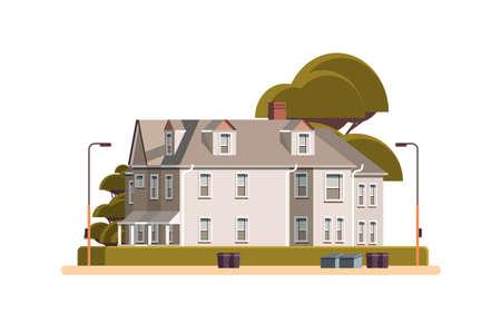 modern town house exterior urban building facade horizontal isolated
