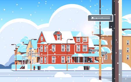 city facade buildings empty no people urban street real estate houses exterior winter snowfall cityscape