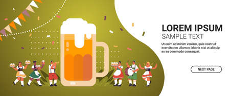people holding mugs and playing musical instruments celebrating beer festival Oktoberfest party celebration