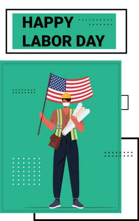 engineer in uniform holding USA flag labor day celebration concept architect wearing mask to prevent coronavirus