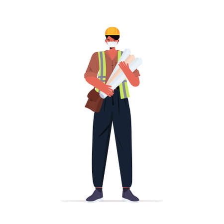 male engineer architect with blueprints wearing mask to prevent coronavirus pandemic self isolation Ilustracja