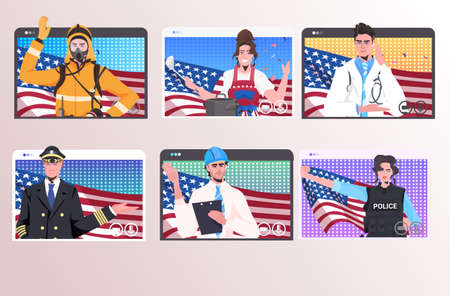 set people of different occupations with USA flags happy labor day celebration self isolation online communication