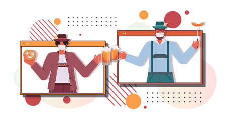 couple in masks drinking beer discussing during video call Oktoberfest party celebration coronavirus quarantine Illustration