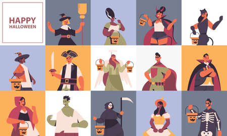 set mix race people in different costumes happy halloween party celebration concept Vettoriali