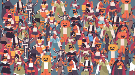 mix race people in different costumes celebrating happy halloween party concept cute men women standing together