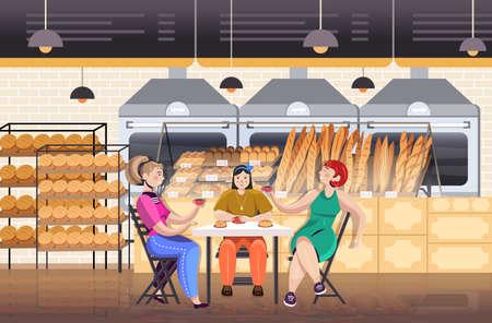 women drinking coffe in bakery friends discussing during breakfast restaurant interior Иллюстрация