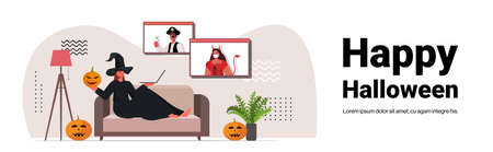 happy halloween holiday celebration woman in witch costume discussing with friends during video call 向量圖像
