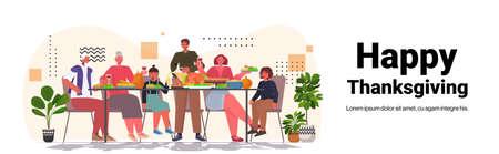 multi generation family celebrating happy thanksgiving day people sitting at table having traditional dinner Vektorgrafik