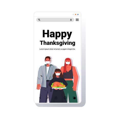 family in masks celebrating happy thanksgiving day parents and child standing near house coronavirus quarantine