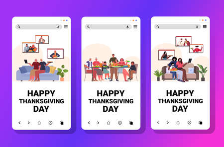 set mix race people celebrating happy thanksgiving day family discussing during video call online communication
