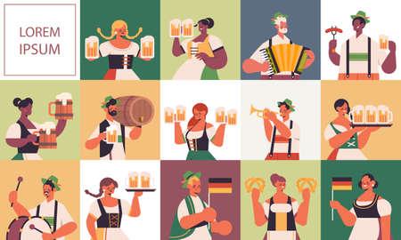 set mix race people celebrating Oktoberfest festival men women in traditional clothes having fun