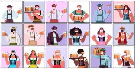 set mix race people in medical masks holding beer mugs Oktoberfest party celebration coronavirus quarantine