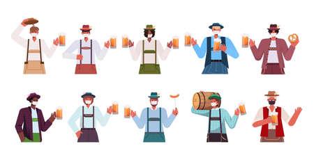 set mix race men in medical masks holding beer mugs Oktoberfest party celebration coronavirus quarantine