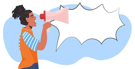 girl activist talking in loudspeaker female empowerment movement women power announcement concept 向量圖像