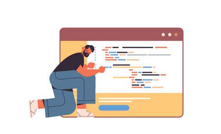 web developer creating program code development of software and programming concept