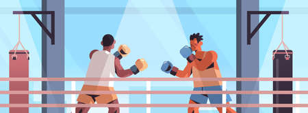 mix race boxers fighting on boxing ring dangerous sport competition training concept 向量圖像