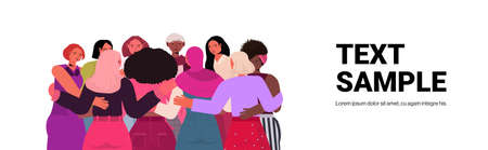 mix race girls embracing standing together female empowerment movement women power concept