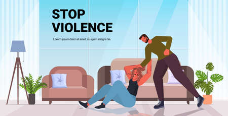 angry husband punching and hitting wife stop domestic violence aggression concept