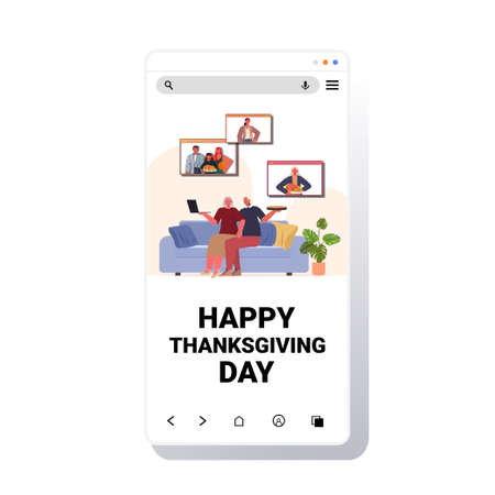 grandparents discussing with children during video call family celebrating happy thanksgiving day online communication self isolation concept smartphone screen vector illustration