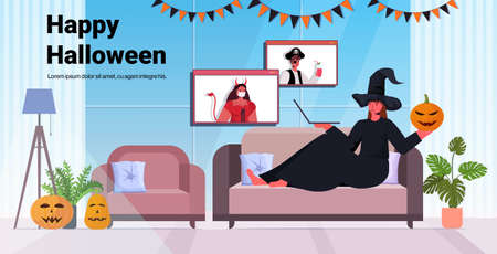 happy halloween holiday celebration woman in witch costume discussing with friends during video call  イラスト・ベクター素材