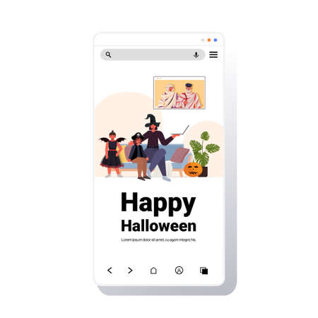 happy halloween holiday celebration concept family in costumes discussing with grandparents during video call