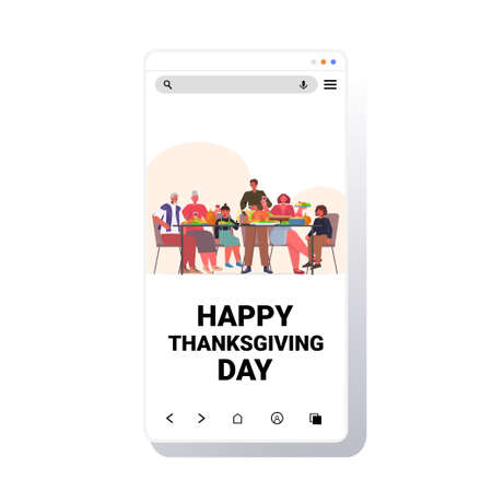 multi generation family celebrating happy thanksgiving day people sitting at table having traditional dinner Illustration