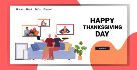 grandparents discussing with children during video call family celebrating happy thanksgiving day Ilustración de vector