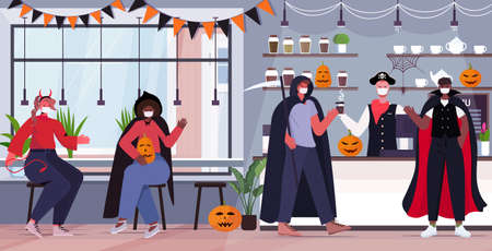 happy halloween holiday celebration mix race people in costumes wearing masks to prevent coronavirus pandemic