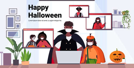 happy halloween holiday celebration concept people in costumes discussing with friends during video call 免版税图像 - 157563585