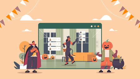 people in costumes discussing during video call happy halloween holiday celebration online communication