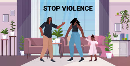 angry husband punching and hitting wife with daughter stop domestic violence and aggression against women Ilustração