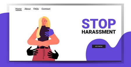hands touching woman stop harassment and abuse no sexual violence concept portrait horizontal Ilustração