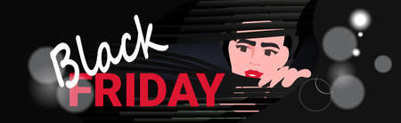 woman looking out window through jalousie black friday sale promotion discount banner