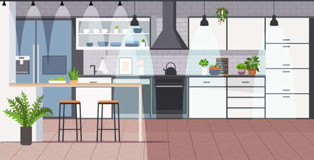 modern kitchen interior empty no people house room horizontal