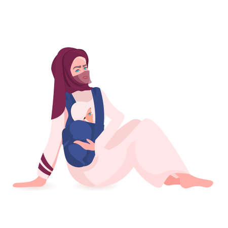 arab mother playing with newborn baby happy family spending time together motherhood concept Çizim