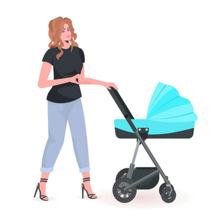 young mother walking with newborn baby in stroller motherhood concept full length