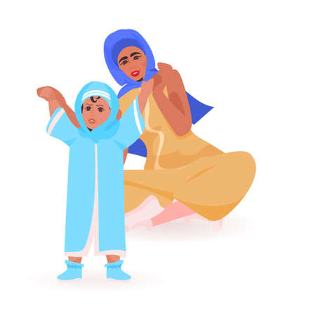 young arab mother playing with newborn baby happy family spending time together motherhood concept