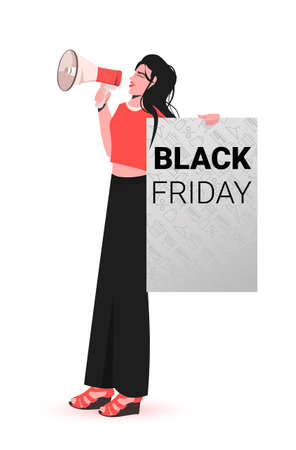 woman shouting into loudspeaker holding black friday placard big sale promotion discount concept