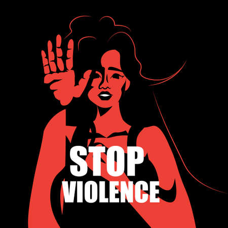 scared terrified woman stop violence and aggression concept portrait Ilustração