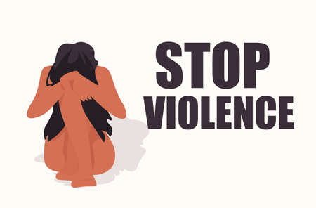 scared terrified woman crying stop violence and aggression concept full length horizontal