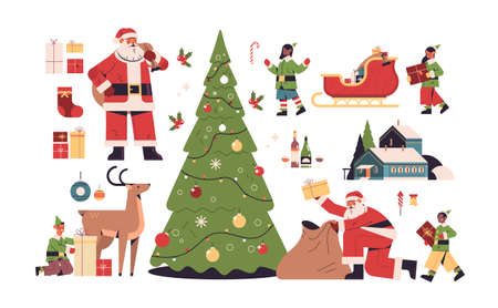 new year elements set merry christmas holidays celebration concept different icons collection full length horizontal vector illustration
