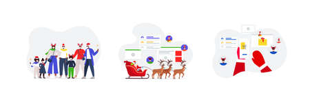 set people celebrating happy new year merry christmas holidays coronavirus quarantine concept Illustration