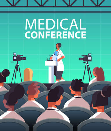 female doctor giving speech at tribune with microphone medical conference medicine healthcare concept