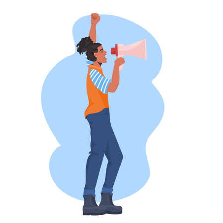 girl activist talking in loudspeaker female empowerment movement women power announcement concept Ilustração