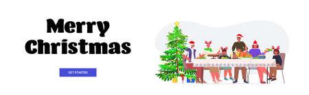 multi generation family in santa hats having christmas dinner new year winter holidays celebration